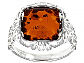 Orange Square Cabochon Cognac Amber Sterling Silver Solitaire Ring
