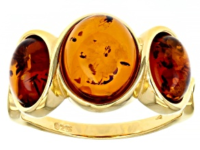 Orange Amber 18K Yellow Gold Over Sterling Silver 3-Stone Ring