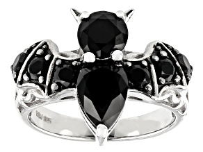 Black Spinel Rhodium Over Sterling Silver Bat Ring 3.22ctw