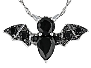 Black Spinel Rhodium Over Sterling Silver Bat Brooch With Chain 6.98ctw