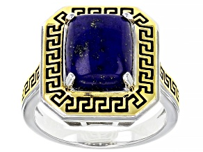 Blue Lapis Rhodium Over Sterling Silver Greek Key Solitaire Ring