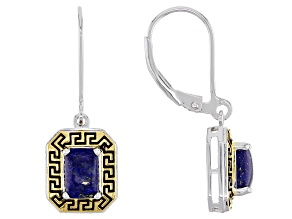 Blue Lapis Rhodium And 18k Gold Over Sterling Silver Two-Tone Greek Key Dangle Earrings