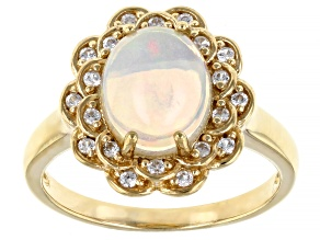 Multicolor Ethiopian Opal 18k Yellow Gold Over Sterling Silver Ring 1.66ctw