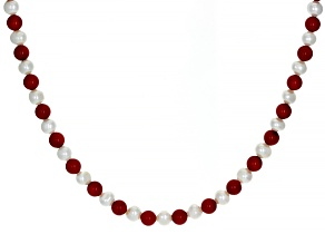 Red Coral Rhodium Over Sterling Silver Necklace