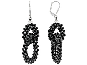 Black Spinel Rhodium Over Sterling Silver Dangle Earrings