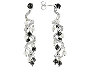 Black Spinel Rhodium Over Sterling Silver Earrings 4.65ctw