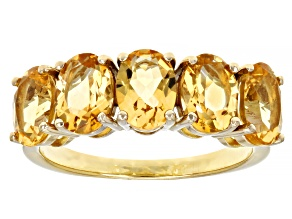 Yellow Citrine 18K Yellow Gold Over Sterling Silver Ring 3.09ctw