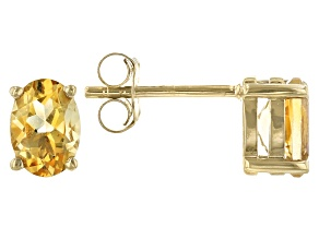 Yellow Citrine 18K Yellow Gold Over Sterling Silver Stud Earrings 1.26ctw