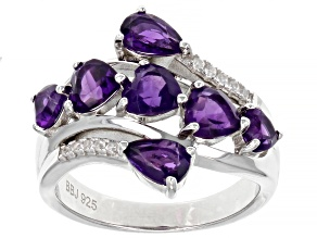 Purple Amethyst Rhodium Over Sterling Silver Ring 2.08ctw