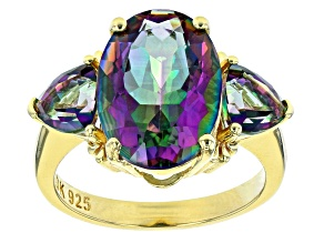Multicolor Quartz 18k Yellow Gold Over Sterling Silver 3-Stone Ring 6.32ctw