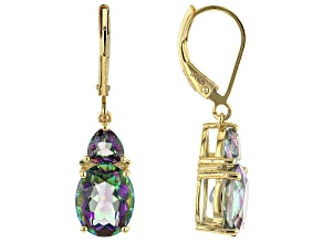 Multicolor Quartz 18k Yellow Gold Over Sterling Silver Dangle Earrings 4.59ctw