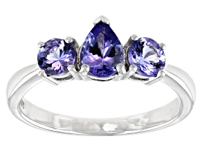 Blue Tanzanite Rhodium Over Sterling Silver 3-stone Ring 1.09ctw