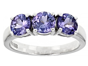 Blue Tanzanite Rhodium Over Sterling Silver 3-stone Ring 1.60ctw