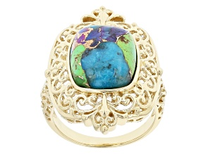 Multi-Color Mohave Turquoise 18k Yellow Gold Over Sterling Silver Solitaire Ring.