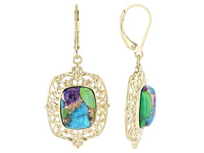 Multi-Color Mohave Turquoise 18k Yellow Gold Over Sterling Silver Solitaire Earrings