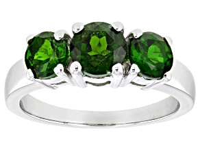 Green Chrome Diopside Rhodium Over Sterling Silver 3-Stone Ring 1.94ctw