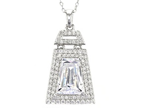 White Cubic Zirconia Sterling Silver Pendant With Chain 5.11ctw
