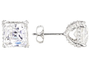 White Cubic Zirconia Platineve Stud Earrings 6.16ctw.