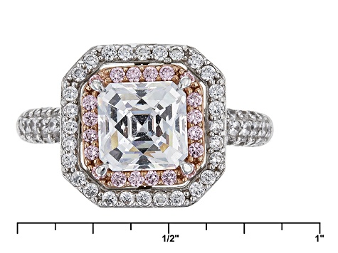 White And Pink Cubic Zirconia Platineve Ring 4.67ctw