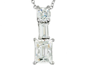 White Cubic Zirconia Platineve Pendant And Chain 3.82ctw