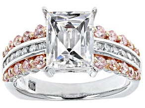 White And Pink Cubic Zirconia Platineve Ring 5.42ctw