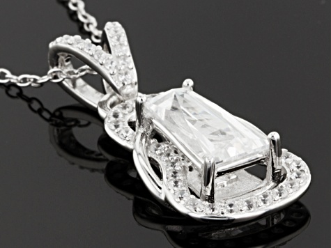 Cubic Zirconia Platineve Pendant With Chain 3.38ctw