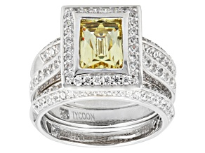 Yellow And White Cubic Zirconia Platineve Ring With Bands 5.19ctw