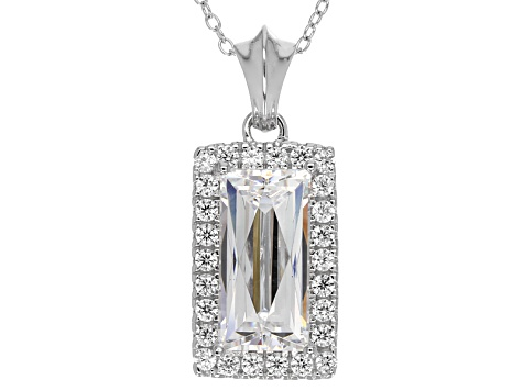 Cubic Zirconia Platineve Pendant With Chain 8.46ctw