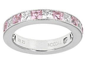 Pink And White Cubic Zirconia Platineve Ring 5.74ctw
