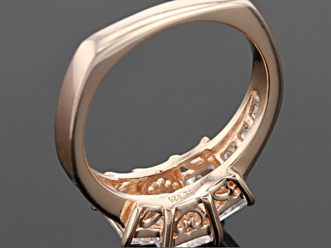 White Cubic Zirconia 18k Rose Gold Over Silver  Ring 4.12ctw