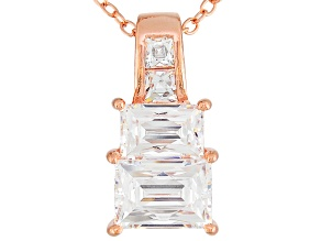 White Cubic Zirconia Platineve Pendant With Chain 2.70