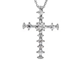 White Cubic Zirconia Platineve Cross Pendant With Chain 1.44ctw