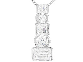 White Cubic Zirconia Platineve Pendant With Chain 5.37ctw