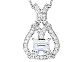 White Cubic Zirconia Platineve Pendant With Chain 2.47ctw