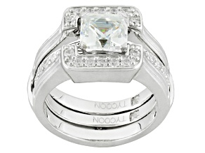 White Cubic Zirconia Platineve Ring With Guard 3.17ctw