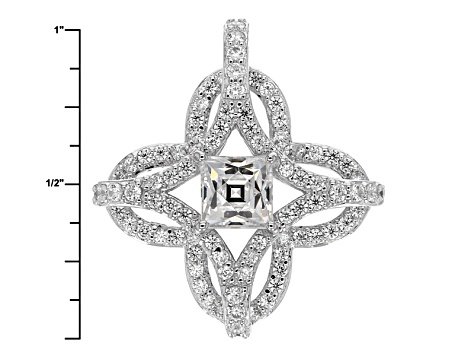 White Cubic Zirconia Platineve Pendant With Chain 3.42ctw