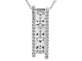 White Cubic Zirconia Platineve Pendant With Chain 4.05ctw