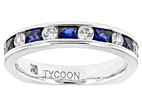 Synthetic Blue Sapphire And White Cubic Zirconia Platineve Ring 1.41ctw
