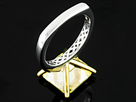 Yellow Cubic Zirconia Platineve Ring 14.09ctw