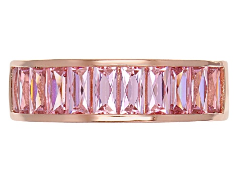 White And Pink Cubic Zirconia 18k Rose Gold Over Silver Ring 7.32ctw