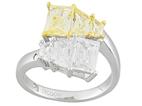 Yellow And White Cubic Zirconia Platineve Ring 5.84ctw