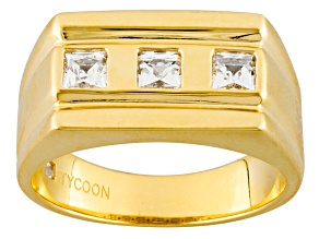 White Cubic Zirconia 18k Yellow Gold Over Silver Gents Ring 1.12ctw