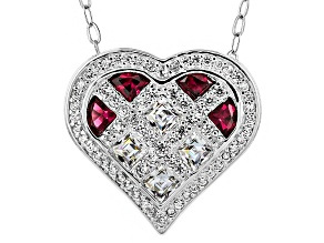 Synthetic Red Corundium And White Cubic Zirconia Platineve Heart Necklace 2.19ctw