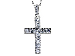 Cubic Zirconia Platineve Cross Pendant With Chain 3.07ctw (1.70ctw DEW)
