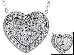 Cubic Zirconia Silver Reversible Heart Pendant With Chain 3.25 (1.84ctw DEW)