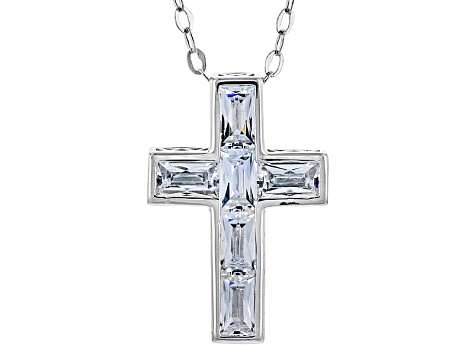Cubic Zirconia Platineve Cross Pendant With Chain 2.94ctw (1.80ctw DEW)