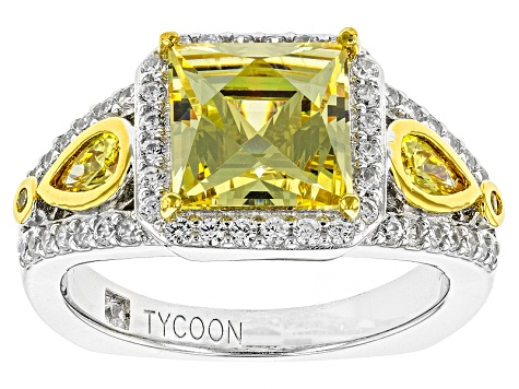 Cubic Zirconia Platineve And 18k Yellow Gold Over Silver Ring 6.02ctw (4.05ctw DEW)