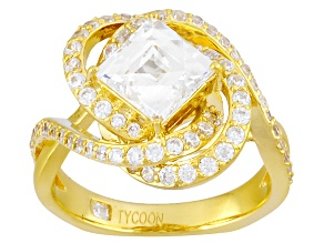White Cubic Zirconia 18k Yg Over Silver Ring 4.33ctw