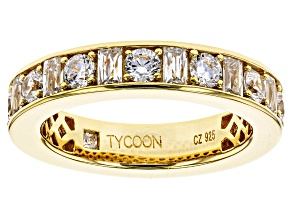 Cubic Zirconia 18k Yellow Gold Over Silver  Ring 4.50ctw (3.12ctw DEW)