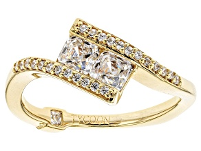 Cubic Zirconia 18k Yellow Gold Over Silver Ring 1.26ctw (.90ctw DEW)